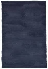 solid navy blue flatweave eco cotton rug 1