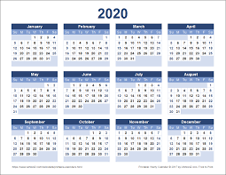 Free Calendars For 2020 Download A Free Printable 2020 Yearly Calendar From Vertex42