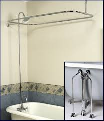 clawfoot tub shower fixtures. complete chrome add-on shower combo set for clawfoot tub \u2013 faucet, riser, rod, drain, lines fixtures l