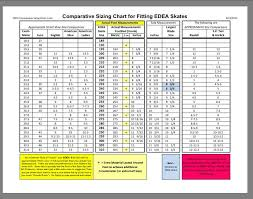 Edea Size Chart Edea Size Conversion Chart Figure Skating Chart Size Chart