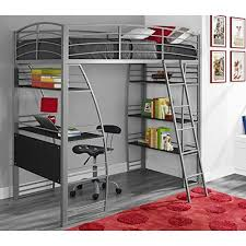 gray dhp studio loft bunk bed over desk and bookcase with metal frame twin