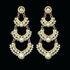 chandelier bridal earrings wedding earring chandelier hanging long earrings gold color imitation pearl fashion jewelry in