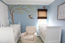 twin baby boy nursery room ideas with white polished wooden crib f combined blue painted wall baby boys furniture white bed wooden