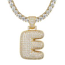 details about bubble letter e pendant custom initial gold tone tennis chain 925 silver charm