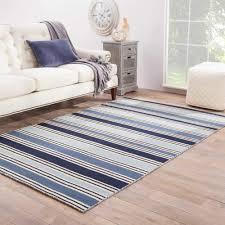 Lancaster Handmade Stripe Blue/ White Area Rug (2'6
