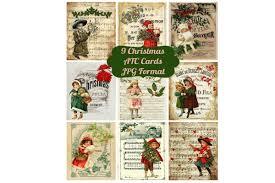 Free christmas bells svg cut file | freesvgshop.com. 9 Vintage Christmas Ephemera Atc Cards Graphic By Scrapbook Attic Studio Creative Fabrica Christmas Ephemera Image Collage Atc Cards
