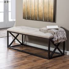 Long Bedroom Bench Long White Wooden Entry Bench With Light Grey Bench Cushion Closed