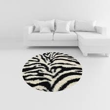 white round area rug. Photo 2 Of 7 Amazon.com: Soft Shag Round Area Rug 5 Ft. Zebra Black White Shaggy G