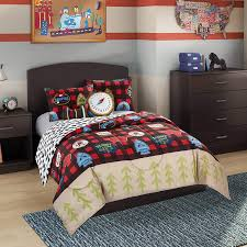 better homes and gardens kids plaid scout camping stripe reversible bedding twin comforter for boys 4 piece in a bag co uk kitchen home
