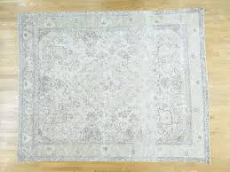 10 2 x12 4 handmade white wash tabriz zero pile shaved thin oriental rug sh34662