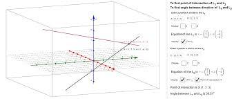 angle between 2 lines in 3d geogebra