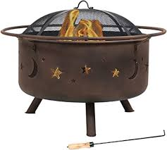 Amazon Com Sunnydaze Cosmic Outdoor Fire Pit 30 Inch Round Bonfire Wood Burning Patio Backyard Firepit For Outside With Cooking Bbq Grill Grate Spark Screen And Fireplace Poker Celestial Design