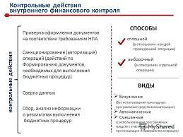 Презентация на тему Осуществление внутреннего финансового  7 Контрольные действия внутреннего