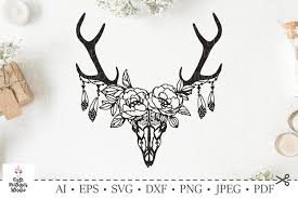 Download elk logo vector in svg format. Skull Of Deer With A Wreath Of Flowers And Leaves Svg Cut 227587 Svgs Design Bundles