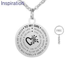 whole hot silver color round stainless steel pendant necklace 55cm chain necklace for son daughter laser engraved to my girl to my boy erfly pendant