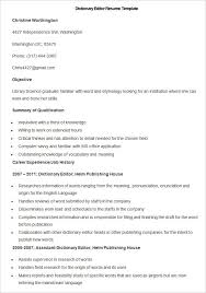 Sample Dictionary Editor Resume Template How To Make A Good