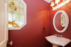 Elegant Black And Red Bathroom Style Decors With Black Porcelain  Freestanding Bathtub Under ...