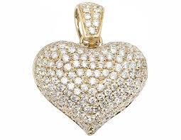 14k yellow gold puffed real vs diamond heart pendant charm 2 5 ct 1 0 pnd