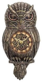 steampunk owl pendulum wall clock myth