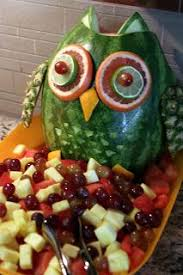 Decorated Fruit Trays Watermelon and other fruits used to make owl decoration for fruit 21