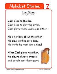 Phonics worksheets for kids including short vowel sounds and long vowel sounds for preschool and kindergarden. Alphabet Stories Letter Z Reading Comprehension Worksheet Have Fun Teaching