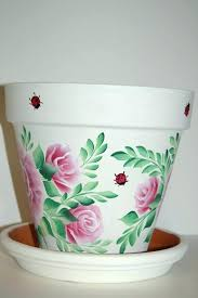 painting clay flower pots ideas captivating painted clay flower pots 6 or 8 hand painted clay painting clay flower pots ideas