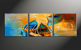 home decor 3 piece photo canvas oil paintings artwork ocean large canvas  on boat canvas wall art with 3 piece yellow canvas oil paintings boat ocean huge pictures