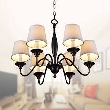 6 light black wrought iron chandelier with cloth shades dk 7057 6