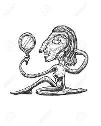 手描きイラストや鏡に映った自分を見て女性の図面