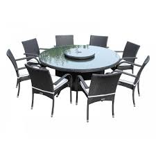 large round 8 seat garden table and lazy susan set in black and vanilla inline zoom