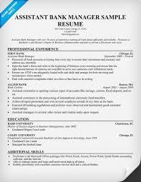 assistant bank manager resume banking sample resume