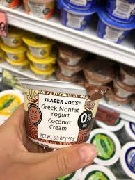 8 greek nonfat yogurt coconut cream my fav yogurt flavor at tj s this creamy goodness has an amazing coconut flavor and goes well with all the cereal