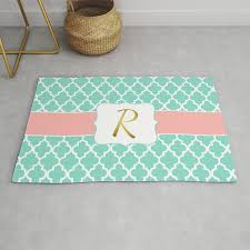mint green lattice pattern with c accents faux gold foil r monogram rug