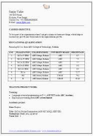 Mca Fresher Resume Format Doc 1 Career Pinterest Resume Format For