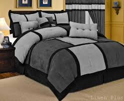 comforter set curtain set gray black micro suede cal king size new linenplus