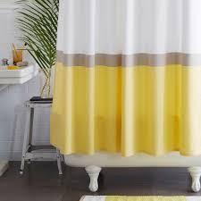 Horizon Stripe Yellow and White Shower Curtain