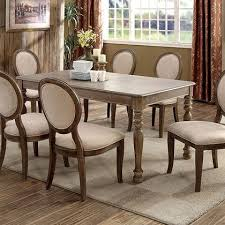 furniture of america siobhan cm3872t round dining table with transitional style turned legs round back design
