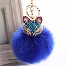 Fancy&Fantsy <b>15cm</b> Fluffy Owl <b>Keychain Rabbit Fur</b> Pompoms <b>Key</b> ...