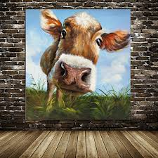 100 handpainted modern cow pictures abstract art on canvas animals oil painting for bed room wall pictures home decor art in painting calligraphy from