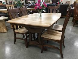 rustic hickory with deluxe two tone chairs amish traditions benchcraft broadway furniture