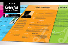 Colorful Resume Templates Colorful InDesign Resume Resume Templates Creative Market 70