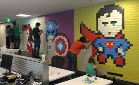 art for office walls. Creative Agency Staff Installs Superhero Murals On Their Office Walls Art For C