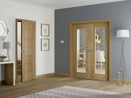 palermo oak pair with clear glass internal doors 2