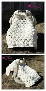 crochet baby car seat cover with