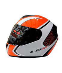 Ls2 Helmet Ff 351 Corsa White Orange Size 58cms Ece Certified