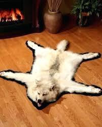 polar bear skin rug faux with head pinkpeonies
