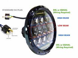 jeep jk headlight wiring jeep image wiring diagram 2x 7 034 75w cree led headlight h4 drl high low beam for jeep on jeep