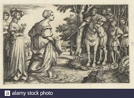 Koningin van Seba vereert hout van brug The Sheba Queen Wade on her bare  feet by a river during a visit to Solomon. She avoids the wooden bridge  because it is made