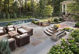 flagstone pool deck and raised patio