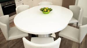 expandable round dining table white